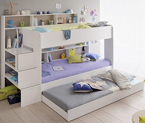 90×200 Kinder Etagenbett Weiß/grau mit Bettkasten Treppe und Geländer