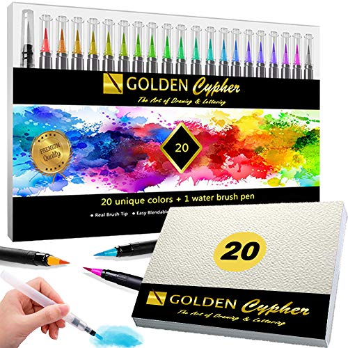 Golden Cypher - 20 Rotuladores Acuarelables Punta