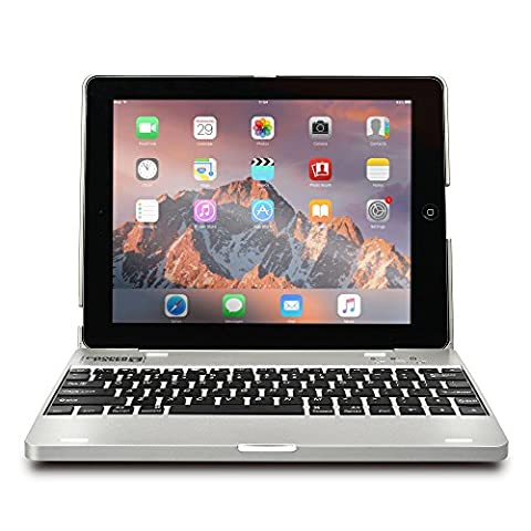 iPad 2 3 4 keyboard case, COOPER KAI SKEL P1 Bluetooth Wireless Keyboard Portable Laptop Macbook Clamshell Case Cover with Rechargeable Battery Power Bank for Apple iPad 2nd 3rd 4th generation Silver - Braccio Dell'asta Asta Del Microfono
