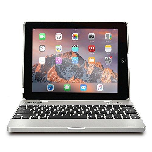 iPad 2/3/4 Custodia con Tastiera, COOPER KAI SKEL P1 Custodia A Guscio Rigido Per Il Trasporto con Tastiera Bluetooth QWERTY Wireless con Batteria Esterna (Argento, Funzione Sleep/Wake)