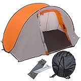 Wurfzelt für 2 Personen - Pop-Up mit Mini-Packmaß, 180x230x105 cm, 2,25 kg, grau-orange