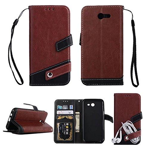 Bookstyle Horizontale Flip Stand Case Litchi Texture Dual Farbe genäht PU Leder Tasche mit Lanyard & Niet Button für Samsung Galaxy J3 2017 ( Color : Black ) Brown