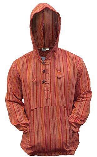 Shopoholic Fashion Mehrfarbig dharke Streifen Opa Kapuzenpulli Hemd, leicht - Neue orange, XXX-Large (- Leichte Orange-streifen)