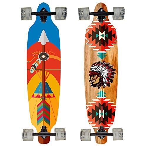 Hansson.Sports Top Longboard Komplett Skateboard Long Board 99cm (39 inch). 2 Motive zur Wahl (Motiv:Pfeil) (Board-ausrüstung Long)