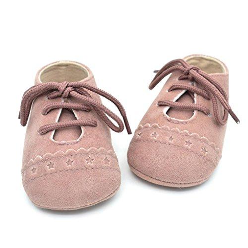 Chaussures premiers pas, WalshK Chaussures BéBé Enfant En Bas âGe AntidéRapage Doux Sole Lace Up Rose