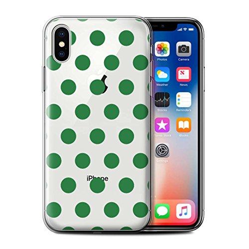 Stuff4 Gel TPU Hülle / Case für Apple iPhone X/10 / Lavendel Lila Muster / Dotty Punktmuster Kollektion Smaragd