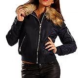 Damen Bomberjacke Gefüttert mit Kunstfellkragen Fliegerblouson Winter Jacke, Farbe:Dunkelblau;Größe:38/M