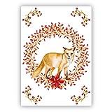 Im 16er Set privat & business: Wunderhübsche klassische Weihnachtskarte mit edlem Weihnachtskranz in rot mit schönem Fuchs - auch für Firmenkunden und Geschäftspartner