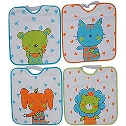 Ti TIN Pack 4 Baberos Impermeables para Bebé con Cierre con Goma 90% Algodón - 10% Poliéster | Lote de 4 Baberos para Bebés de Más de 1 Año, 32x36 cm