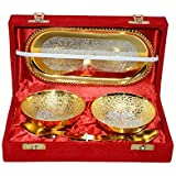 Gold & Silver Plated Brass Bowl Set Of -2 With Tray Handcrafted Brass Material By Avneesh
