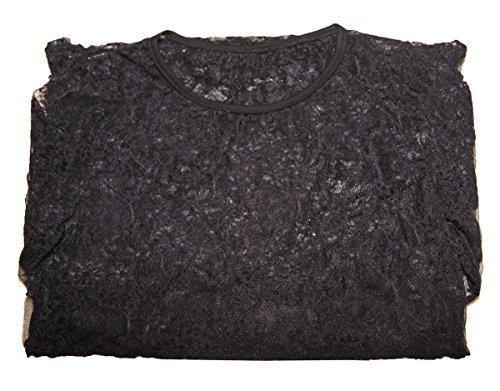 T-shirt haut-top femme dentelle extensible pierre-cedric ! Noir