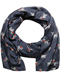 Women Scarf Christmas Reindeer Print Design Lightweight Scarves for Lady