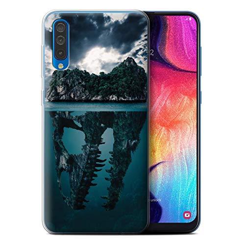 e/Case für Samsung Galaxy A50 2019 / Tropische Insel/T-Rex Muster/Dinosaurier Jurassic Earth Kollektion ()