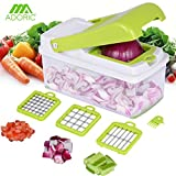 from Adoric Vegetable Chopper, Adoric Food Slicer Dicer, 3 Interchangeable Blades Set with Food Container & Cleaning Brush for Potato Tomato Onion Salad Fruit