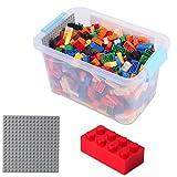 520 kompatible Bausteine mit grauer Grundplatte - alle Bauklötze sind mit 4*2 Noppen - in transparenter Aufbewahrungsbo
