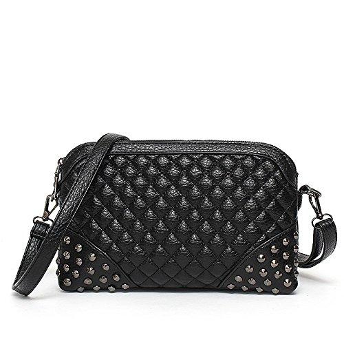 Meoaeo Koreanischer Mode Niet Bag Pu Single Schultertasche Trend Der Kleinen Paket Black on both sides of rivet