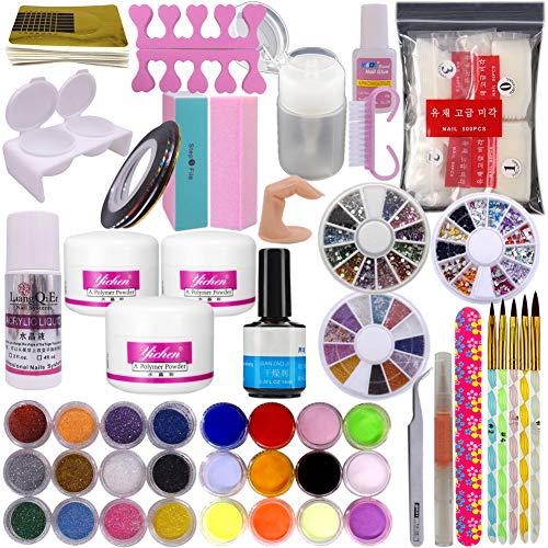 Warm Mädchen DIY Nail Art Dekoration UV Gel Kit Pinsel Buffer Werkzeug Nail Tipps Kleber Colorful Acryl Puder Glitter 4Wege Puffer Block Schleifen Dateien Salon Set Tools -