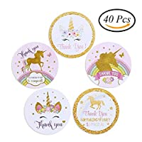 FINGOOO 40 pieces Unicorn Stickers Adhesive Gift Bag Labels for Kids Birthday Party