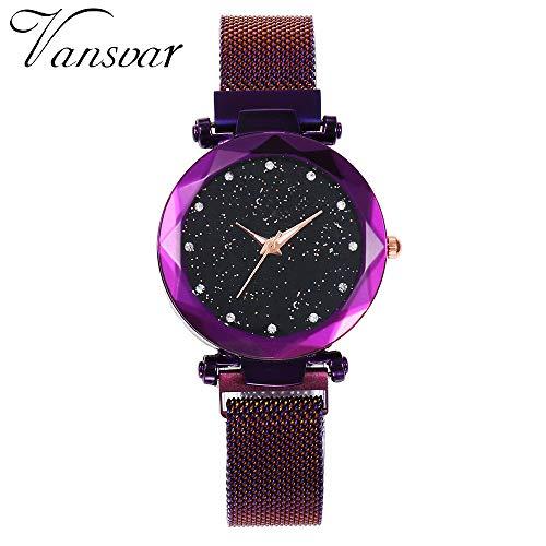 TianWlio Armbanduhren Damen Quarz Edelstahl Band Mesh Magnet Schnalle Sternenhimmel Analog Handgelenk Armbanduhren