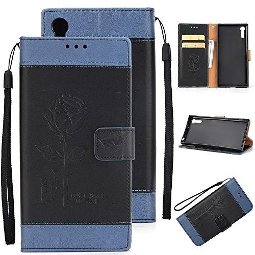 Dual Color Matching Premium PU Leder Flip Stand Case Cover mit Card Cash Slots und Lanyard für Sony Xperia XZ ( Color : Gold ) Black