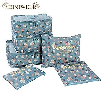 Generic Violett: 6PCS SET Print Behälter Travel Koffer Closet Trennwand Aufbewahrungsbeutel für Kleidung Tidy Organizer Verpackung Cubes Wäschesack
