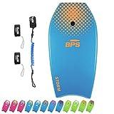 BPS Storm Bodyboard - inkl. Premium Spiral-Leine und Schwimmflosse, Blue, Orange, 41 Inch