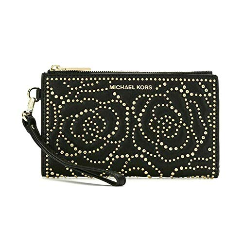 MICHAEL Michael Kors Adele Rose Studded Leather Smartphone Wallet in Black
