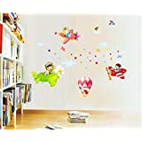 "Ascent Decals Cartoon Wall Sticker For Kids Room ""Flying Air Plane"" PVC Vinyl (60 Cm X 90 Cm)"