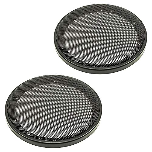 tomzz Audio 2800-002 Lautsprecher Gitter Grill für 165mm DIN Lautsprecher, schwarz, 2-teilig Kunststoffring mit Metallgitter, Satz Diagonale Audio