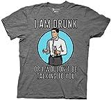 Archer I Am Drunk Herren Grau Meliert T-Shirt | S
