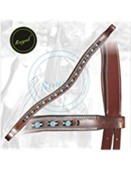 Royal Designer Dark Brown & Blue linked U-Shaped Crystal Brow Band.