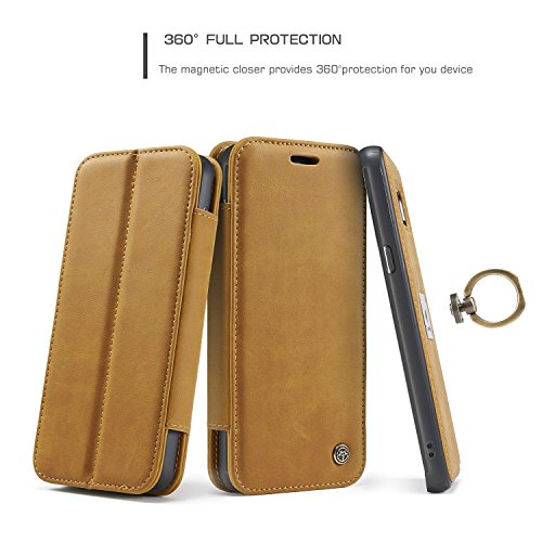 Handy-Hüllen & Hüllen, Für Galaxy S8 Plus Case, CaseMe Luxus Leder Brieftasche Stand Schützende Fall Deckung mit Card Slots Magnetic Finger Ring 2 in 1 Design für Samsung Galaxy S8 Plus ( Farbe : Rot  Gelb
