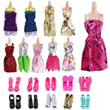 Urban Glitz 10 Pairs Stylish Doll Shoes and 10 Pieces Multicolour Doll Dress Combo Pack Suitable for Standard Size Dolls