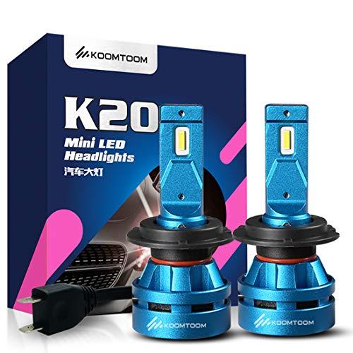 Koomtoom 5000K LED mini H7 fari lampadine lampadina kits- CREE chips Ture 360 ° fascio luminoso 8000LM (2 x 4000LM) 55 W (2 x 27.5 W) - anno di garanz
