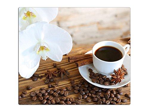 Herdabdeckplatte Schneidebrett Spritzschutz aus Glas, Multi-Talent HA63333767 Orchidee Kaffee Variante Einteilig (1 Panel) (Kaffee-glas-schneidebrett)
