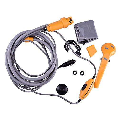 Ducomi® Showerby - Ducha Portatil de Acampada y Outdoor con Tubo Flexible de 2 m - Funcionamiento Eléctrico con Encendedor a 12 V