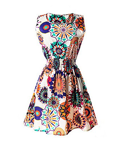 Lkous Frauen Sommer Strand Blumendruck Chiffon Casual Flared Mini Kleid 20
