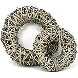 com-four® 2X Deko Holz-Kranz aus Rattan zum dekorieren z.B von Fenstern, Tische und Türen (2 Stück - Ø30cm / Ø20cm)