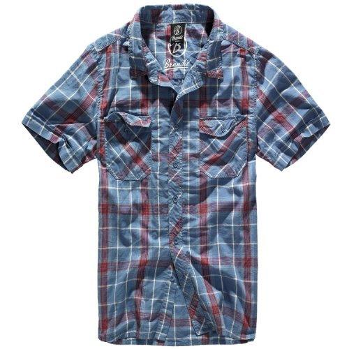 Button-down-falten Hemd (Bandit Hemd Roadstar Rot-Blau M)