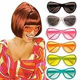 Hippie Brille getönt 72er Jahre Partybrille orange Disco Spaßbrille Flower Power Faschingsbrille Siebziger Karnevalsbrille Retro Funbrille