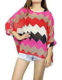Mujeres Blusa Batwing Manga Corta Túnica de Gasa Blusa Camiseta Top 3/4 sin chaleco