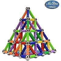 Palos magnéticos, McDou palos magnéticos y bolas Set 140PCS, palos de construcción magnéticos, juguetes magnéticos de construcción, juguetes magnéticos palos juguetes educativos para niños (más de 6 años)