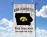 Iowa Hawkeye Garden Flag regalo di nozze personalizzata con nome bandiera da giardino Outdoor Decor, poliestere, Colorato, 28' x 40'
