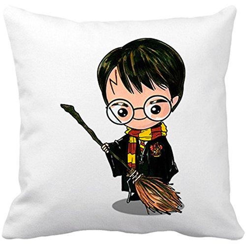 Cojín con relleno Chibi Kawaii Harry Potter con escoba voladora parodia - Blanco, 35 x 35 cm