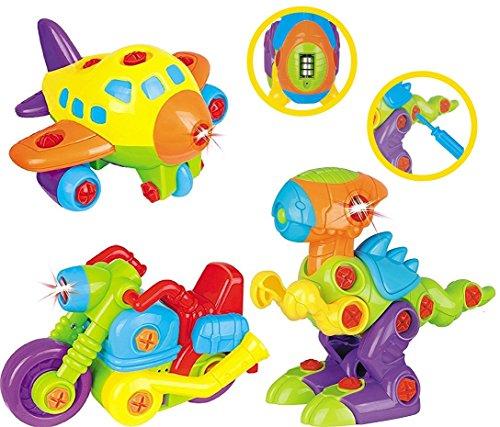Set di Giocattoli Smontabili per Bambini TG651 - 3 Giocattoli in 1 per Bambini, con Luci e Suoni; Aeroplano; Dinosauro; Motocicletta prodotto da ThinkGizmos (Marchio Protetto).