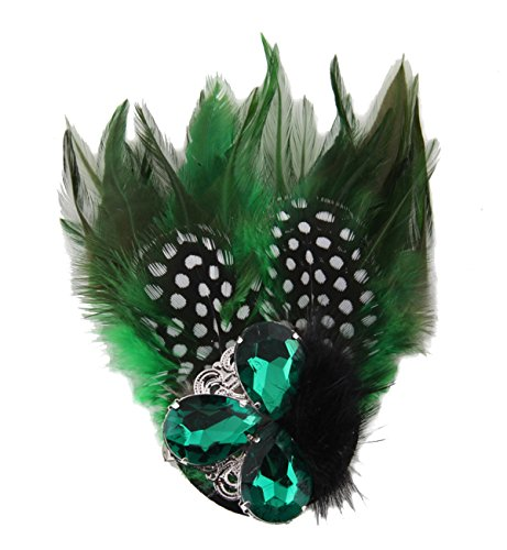Cheerlife Feden Ansteckblume Haarblume mit Strass Brautschmuck Haarschmuck Haarclip Feier Kopfschmuck Bekleidung Zubehör Brosche Blumen Grün