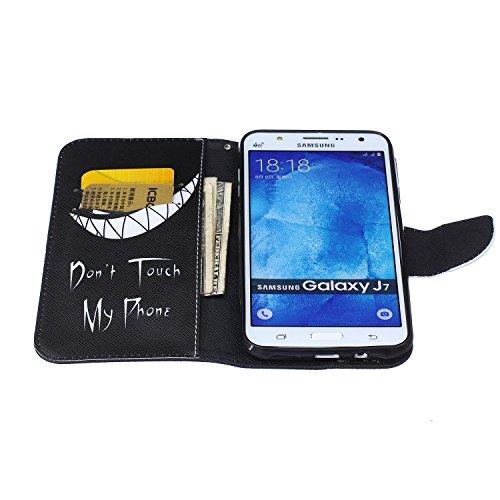 Etche Etui coque pour Samsung Galaxy J7,Housse en cuir PU pour Samsung Galaxy J7,portefeuille couvercle de la poche pour Samsung Galaxy J7,Housse en cuir de cuir flip couverture Wallet téléphone Case  ne touchez pas mon téléphone