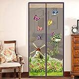 HOMYY Magnetischer Tür-Vorhang mit Magic Fliegen Tür mit Netz-Hut mit Moskito-Hands-Free Bug-Proof Top-to-Bottom mit Einfacher Einbau-Spitze, Braun, 90cm x 210cm