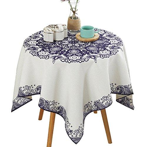 Nappe minimaliste Beau motif bleu Nappe carrée Motif carré Convient aux tables rondes ( Size : 85*85cm )