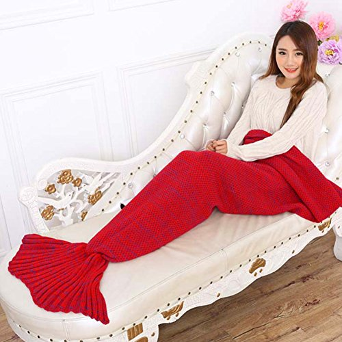 Mermaid Blanket, YIBANBAN Handmade Mermaid Tail Blanket Knit Crochet Fish Scale Sleeping Bag Sofa for Living room blanket for Adults and Kids